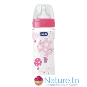 Chicco Biberon Well-Being – 330ml – Tétine silicone – Rose 4M+