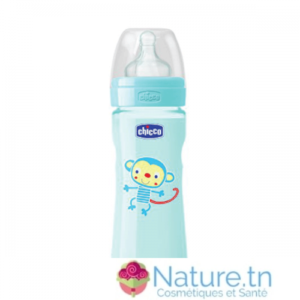 Chicco Biberon Well-Being – 330ml – Tétine silicone – Bleu 4M+