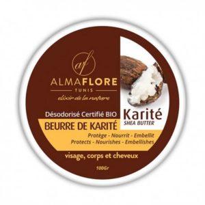ALMAFLORE Beurre de Karité Naturel Désodorisé – 100 g