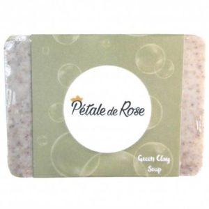 Savon artisanal à l'huile d'olive pure et à l'argile verte exfoliant pour peau grasse et acnéique (80g) – Pétale de Rose